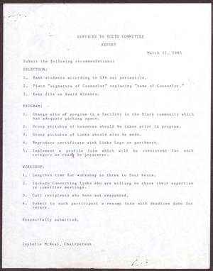 Primary view of object titled '[Status Report: Services to Youth Committee - March 1985]'.