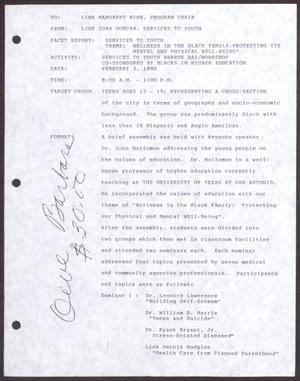 Primary view of object titled '[Status Report: Services to Youth Committee - February 1990]'.