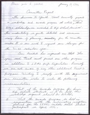 Primary view of object titled '[Status Report: Services to Youth Committee - January 1992]'.