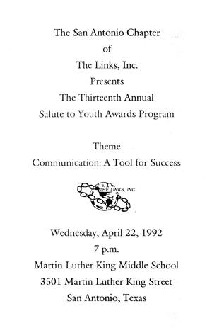 [1992 Salute to Youth Awards Program]