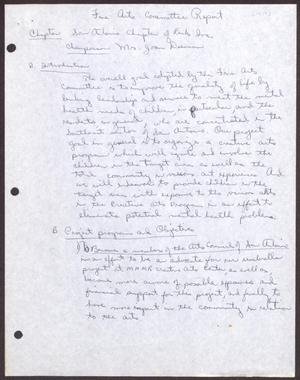Primary view of object titled '[Status Report: Arts Committee - 1979]'.
