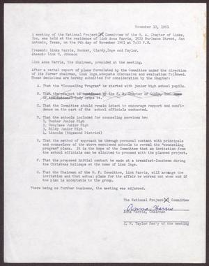 Primary view of object titled '[Status Report: National Project Committee - November 1961]'.