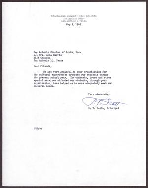 Primary view of object titled '[Letter from S. T. Scott to San Antonio Chapter of Links, Inc. - May 9, 1963]'.