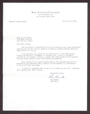 Primary view of object titled '[Letter from Ron Lucke to Mrs. O. C. Booker - October 18, 1965]'.