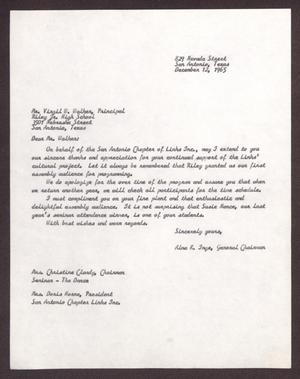 Primary view of object titled '[Letter from Alma K. Inge to Virgil W. Walker - December 2, 1965]'.