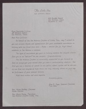 Primary view of object titled '[Letter from Alma K. Inge to Charlotte Collins - December 2, 1965]'.
