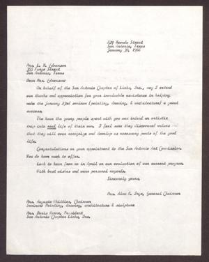 Primary view of object titled '[Letter from Alma K. Inge to Mrs. L. R. Edmerson - January 30, 1966]'.