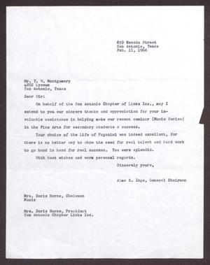 Primary view of object titled '[Letter from Alma K. Inge to T. W. Montgomery - February 11, 1966]'.