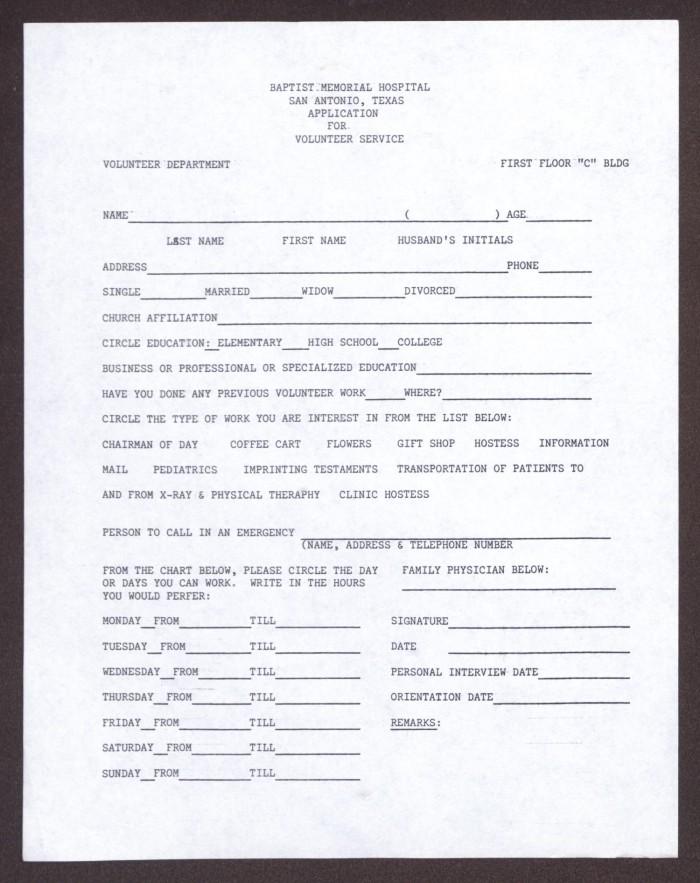 Baptist Memorial Hospital Application for Volunteer Service