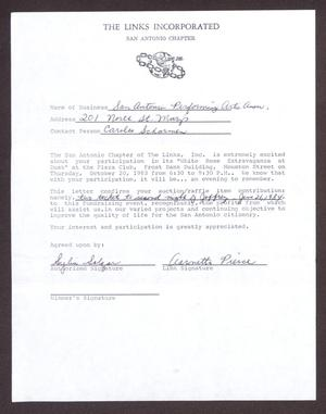 Primary view of object titled '[Auction Contract Between San Antonio Performing Arts Association and San Antonio Chapter of the Links, Inc.]'.