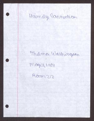 Primary view of object titled '[Family Connection: Thelma Washington]'.