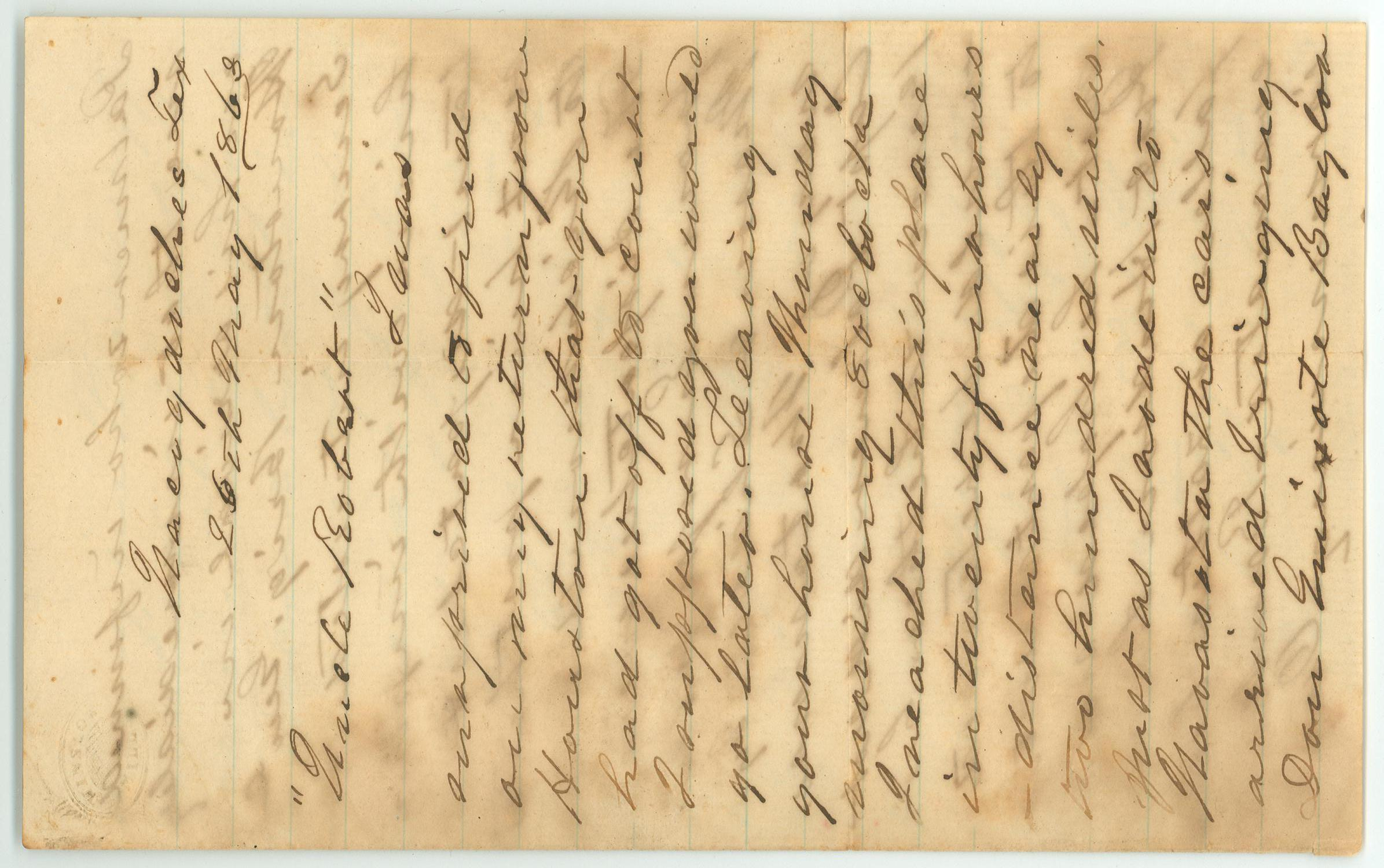 [Letter to R.E.B. Baylor from Walker Wheeler, May 26, 1863]                                                                                                      [Sequence #]: 1 of 4