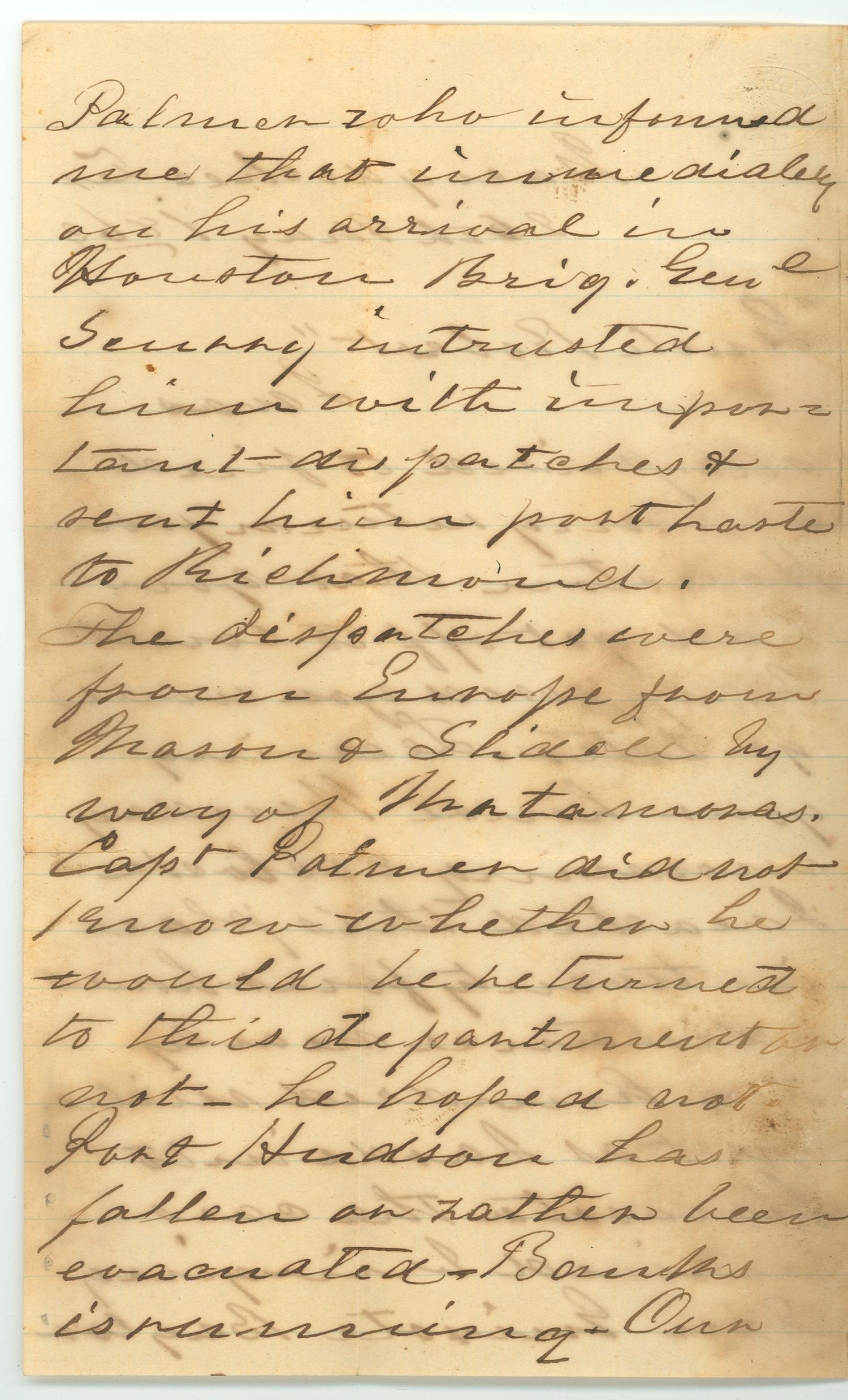 [Letter to R.E.B. Baylor from Walker Wheeler, May 26, 1863]                                                                                                      [Sequence #]: 2 of 4