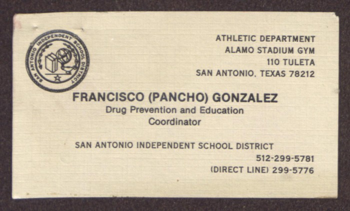 Business card for fancisco pancho gonzalez the portal to texas primary view of object titled business card for fancisco pancho gonzalez reheart Image collections