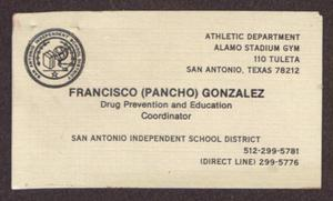 Primary view of object titled '[Business Card for Fancisco (Pancho) Gonzalez]'.