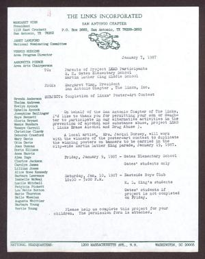 Primary view of object titled '[Letter to parents of Project LEAD participants - January 7, 1987]'.