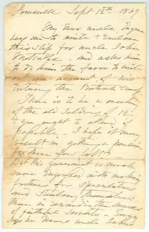 Primary view of object titled '[Letter to Robert Emmett Bledsoe Baylor from J.E. Baylor, September 19, 1869]'.