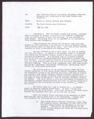 Primary view of object titled '[Memo from Esther G. Nelson to delegates and consultants]'.