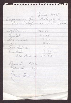 Primary view of object titled '[Expenses for Delegate to Area Conference in Ft. Worth]'.