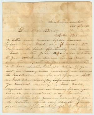 Primary view of object titled '[Letter to R.E.B. Baylor from  his nephew, R.E. Bledsoe, October 2, 1872]'.