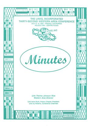 Primary view of object titled 'Minutes and Proceedings of the Thirty-Second Western Area Conference of The Links, Inc., July 1995'.
