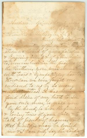 Primary view of object titled '[Letter to R.E.B. Baylor from J.H. Stribling, August 29, 1873]'.