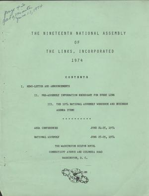 Primary view of object titled 'The Nineteenth National Assembly of The Links, Incorporated, July 1974'.