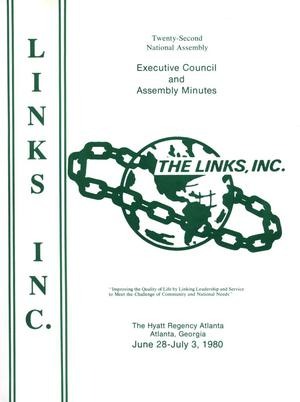 Primary view of object titled 'Minutes and Proceedings of the Twenty-Second National Assembly of The Links, Inc., June-July 1980'.