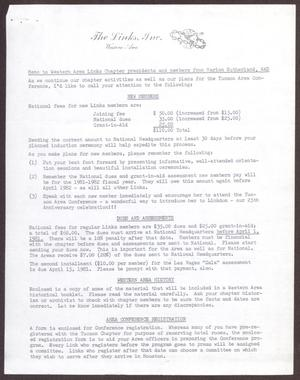 Primary view of object titled '[Memorandum to Western Area Links Chapter Presidents: February 6, 1981]'.