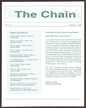 Primary view of object titled 'The Chain, Volume 1, No. 1, January 1992'.