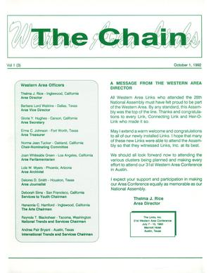 Primary view of object titled 'The Chain, Volume 1, Number 3, October 1992'.
