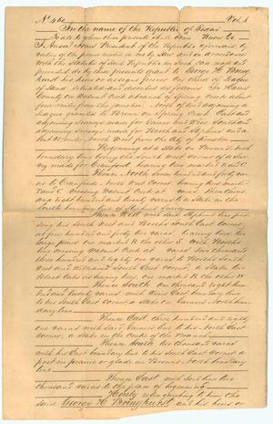 Primary view of object titled '[Copy of land grant to George H. Bringhurst]'.