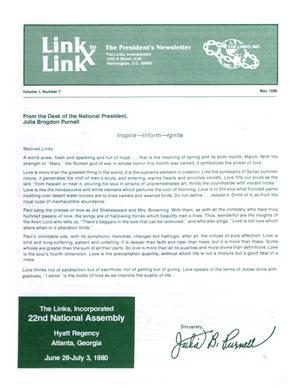 Primary view of object titled 'Link to Link: The President's Newsletter, Volume 1, Number 7, May 1980'.