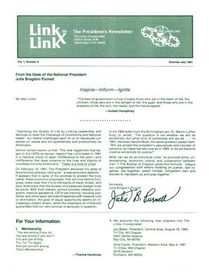 Primary view of object titled 'Link to Link: The President's Newsletter, Volume 1, Number 9, July 1981'.