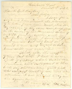 Primary view of [Letter to R.E.B. Baylor from Lavinia Abercrombie, June 10, 1863]