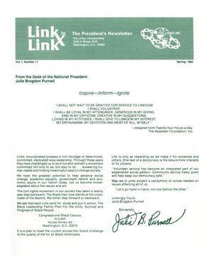 Primary view of object titled 'Link to Link: The President's Newsletter, Volume 1, Number 11, Spring 1982'.