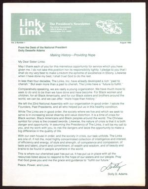 Primary view of object titled 'Link to Link: The President's Newsletter, Volume 2, Number 1, August 1982'.