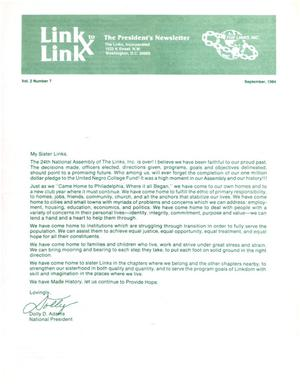 Primary view of object titled 'Link to Link: The President's Newsletter, Volume 2, Number 7, September 1984'.