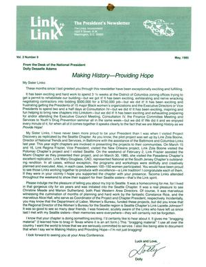 Primary view of object titled 'Link to Link: The President's Newsletter, Volume 2, Number 9, May 1985'.