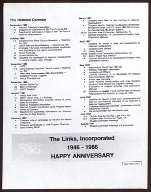 Primary view of object titled '[The National Calendar: The Links, Incorporated, September 1986 - August 1987]'.