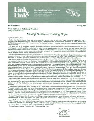 Primary view of object titled 'Link to Link: The President's Newsletter, Volume 2, Number 12, January 1986'.