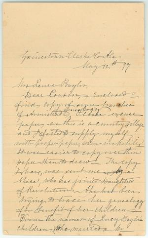 Primary view of object titled '[Letter to Laura Baylor from her cousin, May 12, 1877]'.