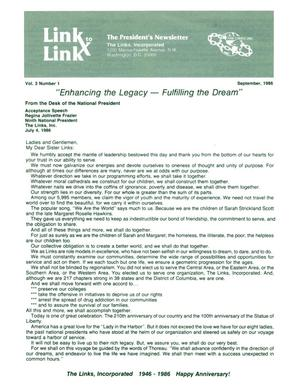 Primary view of object titled 'Link to Link: The President's Newsletter, Volume 3, Number 1, September 1986'.