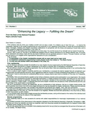 Primary view of object titled 'Link to Link: The President's Newsletter, Volume 3, Number 2, January 1987'.