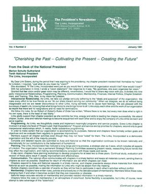 Primary view of object titled 'Link to Link: The President's Newsletter, Volume 4, Number 2, January 1991'.