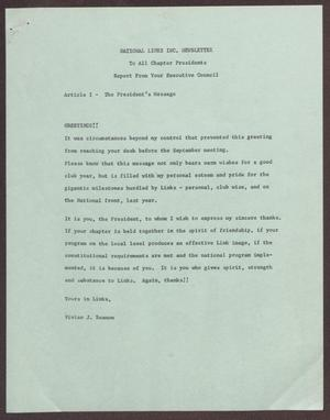 Primary view of object titled 'National Links, Inc. Newsletter to All Chapter Presidents: Report from Your Executive Council - October 1965'.