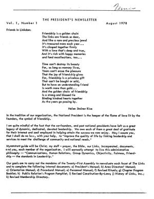 Primary view of object titled '[Link to Link]: The President's Newsletter, Volume 1, Number 1, August 1978'.