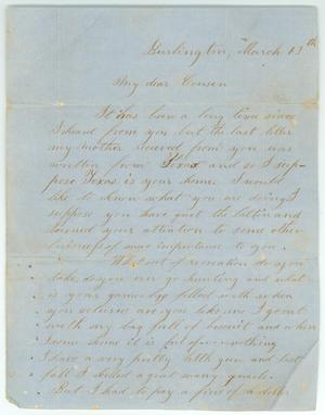 "Primary view of object titled '[Letter to ""cousin"" in Texas from Burlington ]'."