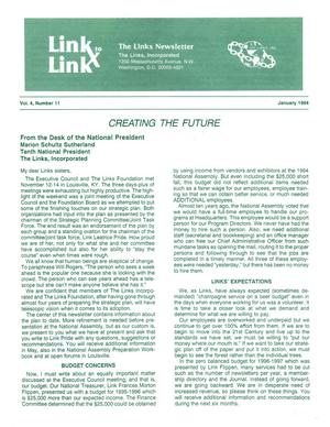 Primary view of object titled 'Link to Link: The President's Newsletter, Volume 4, Number 11, January 1994'.