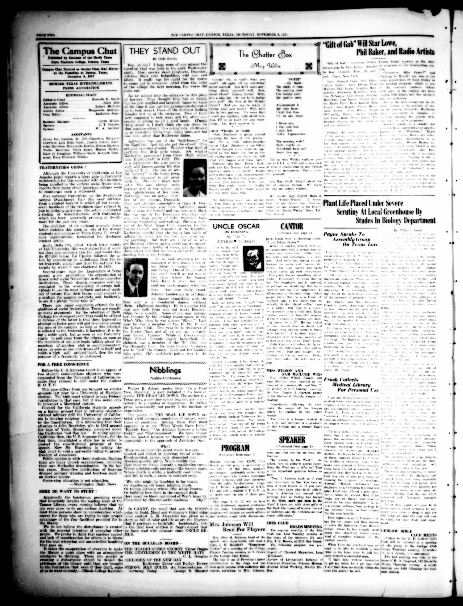 the c us chat denton tex vol 19 no 7 ed 1 thursday Gift of Gab Idiom the c us chat denton tex vol 19 no 7 ed 1 thursday november 8 1934 page 2 of 4 the portal to texas history